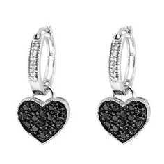 @Overstock - A heart charm set with 15 black diamonds dangles from white diamond-studded hoops in each of these pretty earrings. Crafted of fine sterling silver, the earrings secure with saddleback clasps.http://www.overstock.com/Jewelry-Watches/Sterling-Silver-1-2ct-TDW-Black-and-White-Diamond-Heart-Hoop-Earrings-H-I-I2-I3/5245405/product.html?CID=214117 $94.99