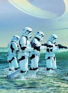 stormtroopers exploring a water planet