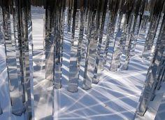 Jenne Hein Permanent installation at Kraus Residence, New York, USA, 2008 (the dark one's mirror maze) Land Art, Mirror Maze, Instalation Art, Mirror Room, Mirrors, Water Art, Mirror With Lights, Light Art, Public Art