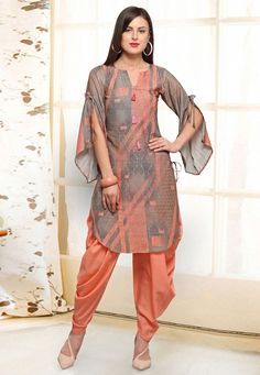 Readymade Peach Printed Asymmetric Kurti With Dhoti Pant - Designer Dresses Couture Pakistani Dresses Casual, Indian Fashion Dresses, Pakistani Dress Design, Indian Designer Outfits, Designer Dresses, Sleeves Designs For Dresses, Dress Neck Designs, Stylish Dress Designs, Stylish Dresses