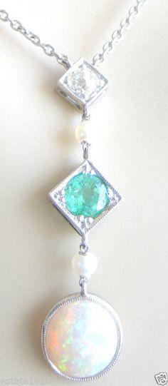 Antique Art Deco Black Opal Colombian Emerald Mine Diamond Platinum Necklace