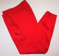 Polo Ralph Lauren fleece sweatpants jogger athletic size large  color red #PoloRalphLauren #CasualPants