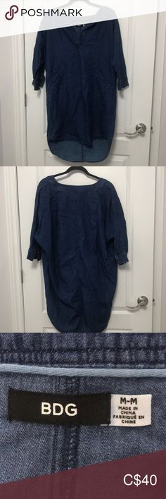 - Made in China - Body: cotton - Machine wash cold BDG Dresses Midi Jeans Dress, Urban Outfitters, China, Cold, Navy, Best Deals, Cotton, How To Wear