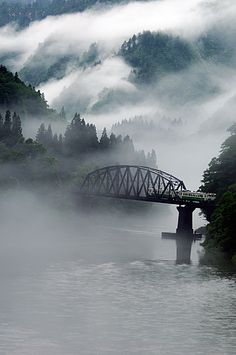 Aizu, Fukushima Japan- train bridge and mist