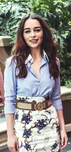 Love the chambray and pattern skirt with large buckle! *emilia-my moon and stars*