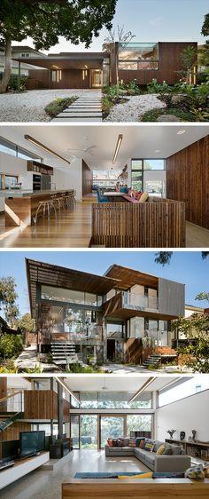 Trail House von Zen Architects in Melbourne, Australien Zen House Design, Zen Design, Modern Zen House, Modern House Plans, Modern Architecture House, Sustainable Architecture, Facade Architecture, Style At Home, Melbourne House
