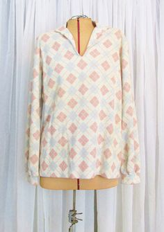 Vintage Sweater: Pastel Pink and Blue Argyle by FairSails on Etsy