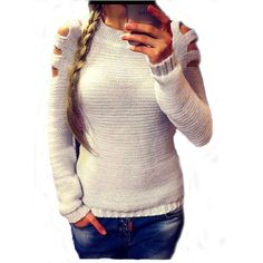 2017 Women Off Shoulder Knitted Sweater Autumn O neck Long Sleeve Pullover  Loose Casual White Knitwear a9349d23e