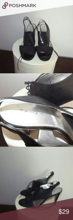 Tahari Lenore Sandals Black lace-up sling back sandals. 3.75 inch heel. In great condition Tahari Shoes Heels