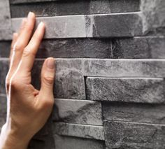 Grey Stone Cladding Trompe l'oeil Wallpaper by Koziel. Made in France.