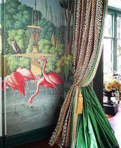 Kips Bay Decorator Showhouse - Ken Fulk A stunning combination of green silk taffeta, leopard, Greek key, and flamingos.