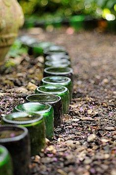 glass bottle garden edging. by isabel123