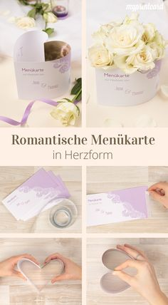 Menükarte in Herzform selbst basteln, Anniversary Parties, 25th Anniversary, Own Website, Deco Table, Decoration, Creations, Place Card Holders, Romantic, Homemade