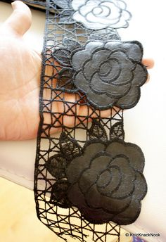 Black Leather Rose And Cotton Trim Lace Approx by KnicKnackNook Altered Art, Ribbons, Crochet Necklace, Black Leather, Jewelry Design, Rose, Unique, Cotton, Bias Tape