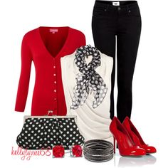 Red, White, and Black by kellylynne68 on Polyvore featuring The Department, Coast, Paige Denim, Sergio Rossi, Lulu Townsend, H&M and Lab