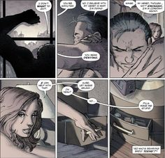 "Batman/Bruce Wayne pouring his problem to Catwoman/Selina Kyle -- so sweet! in ""The Dark Knight Returns: The Last Crusade"" by Frank Miller and Brian Azzarello."