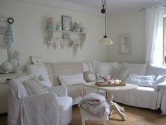 L A N D L I E B E-Cottage-Garden  Inspiration...the chair slipcover looks easy