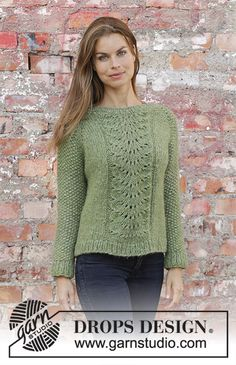 Clover / DROPS - Free knitting patterns by DROPS Design Clover / DROPS - Knitted pullover with raglan in 2 strands DROPS Air. The piece is knitted from top to bottom with. Drops Design, Lace Knitting, Knitting Stitches, Knitting Sweaters, Knitting Scarves, Raglan Pullover, Kids Knitting Patterns, Crochet Patterns, Sweaters For Women