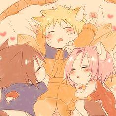 :) Naruto, Sasuke, and Sakura as little kitties <3
