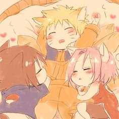 :) Naruto, Sasuke, and Sakura as little kitties <3