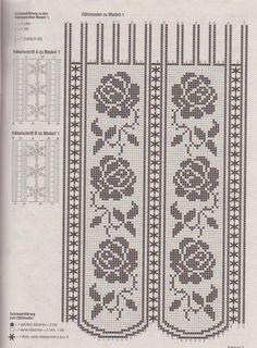 Inspiration - Crochet curtains for the kitchen. Crochet Curtain Pattern, Crochet Curtains, Curtain Patterns, Crochet Tablecloth, Crochet Doilies, Rose Curtains, Thread Crochet, Crochet Stitches, Knit Crochet