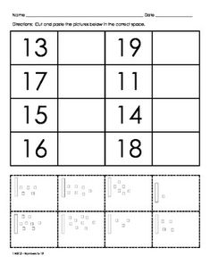 Looking for beginning place value practice? These worksheets will give your students practice with teen numbers to Included are matching sheets and a cut and paste activity. Teen Numbers, Math Numbers, Math Resources, Math Activities, Numbers Kindergarten, Kindergarten Freebies, Numbers Preschool, Formation Continue, Eureka Math