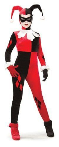 Harley Quinn Cosplay Jumpsuit Costume Black and Red Fitted Harlequin Cosplay Costume Halloween Clown Joker Costume