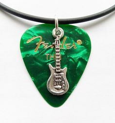 """Green Fender guitar pick necklace silver tone music charm size 17"""" to 19"""" inch  #Unbranded #Charm Gold Choker Necklace, Ball Necklace, Silver Necklaces, Drop Earrings, Guitar Pick Necklace, Chakra Stones, Chokers, Charmed, Pendants"""