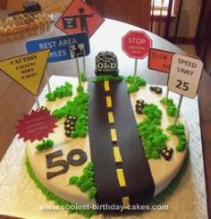 """Homemade Over the Hill Birthday Cake: This Homemade Over the Hill Birthday Cake was so easy to make and took very little time. This cake is made with a 16"""" round cake pan and two boxed cake"""