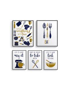 Funny Navy Gold Kitchen Wall Decor, Navy Kitchen wall art prints set, Kitchen prints, Modern Home Decor, Dining room decor