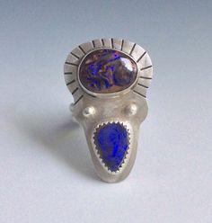 Koroit opal multistone boho ring by slathered on Etsy