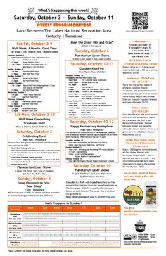 Events October 3-11, 2015 at Land Between The Lakes.