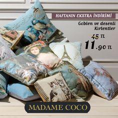 Evinizin havasını değiştirecek Goblen ve Desenli Kırlentler bu haftaya özel Madame Coco'da 45 TL yerine 11.90 TL. Madame Coco #MarmaraPark zemin katta.