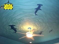 "Boyertown ""shark room"" - Mural Photos in Boyertown, Pennsylvania Shark Bedroom, Kids Bedroom, Shark Nursery, Master Bedroom, Bedroom Murals, Bedroom Decor, Bedroom Ideas, Bathroom Mural, Bedroom Ceiling"