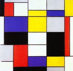 """Abstracionismo: Piet Mondrian - """"Composição"""", (1910).  - Fiquei admirada quando vi essa imagem obra pela primeira vez, as cores são vibrantes e chama atenção.    Essa obra é muito famosa, e continua a inspirar na arte, moda, design."""