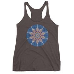 1663af36b6c7f Blue And Gold Mandala Women s Racerback Tank Top Yoga Tank Tops