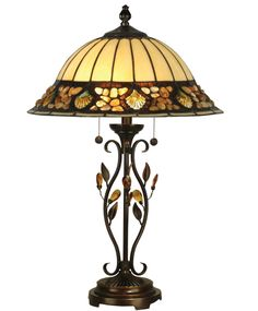 """A table lamp is always a welcome addition to any design space Antique Golden Sand Finish Tiffany Shade Resin/Metal Base Material Width x 27 """" Height Features Pull Chain Switch Accepts 2 x 60 Watt Base Bulbs (not included) Weight: lbs Tiffany Lamp Shade, Tiffany Style Table Lamps, Glass Table, A Table, Light Table, Lamps For Sale, Contemporary Table Lamps, Stained Glass Lamps, Glass Panels"""