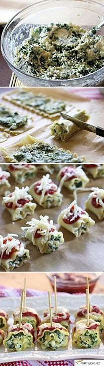 Spinach Lasagna Roll-Ups Lasagna rolls - how clever! Great idea for parties with finger foods!Lasagna rolls - how clever! Great idea for parties with finger foods! Snacks Für Party, Appetizers For Party, Appetizer Recipes, Italian Appetizers, Healthy Appetizers, Popular Appetizers, Cold Appetizers, Parties Food, Party Drinks