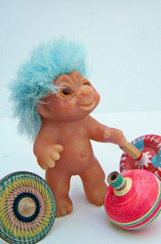 Vintage Toy Dam Troll Doll Baby Turquoise Blue by papercherries