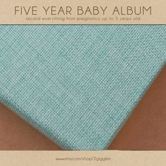 Baby  Book (Pregnancy - 5 years) - Vintage Blue Burlap  (136 designed journaling pages & personalization included) by 2giggles on Etsy https://www.etsy.com/listing/226865619/baby-book-pregnancy-5-years-vintage-blue