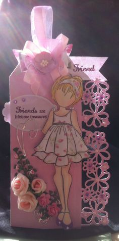 Prima paper doll tag using doll in ruffle dress in pink and white . Friends