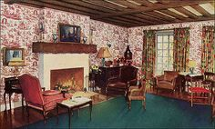 This interior was part of an ad for wallpaper obviously. There's a LOT going on in this room,  but it isn't with out its charms. Beamed ceilings, traditional furniture, and wallpaper including busy florals were common.