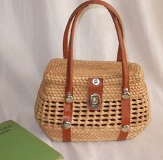 STRAW Handbag Purse 1960s 1970s Rounded Basket Style by ReVintage3, $18.00