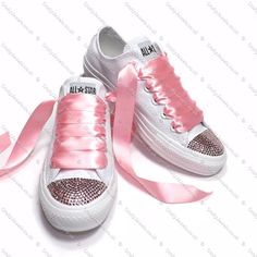 Swarovski or Diamante Crystal Wedding Converse Baby Pink Crystals Ribbon