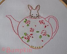 Bunny and Her Teapot Embroidery PDF Pattern by Bumpkin on Etsy