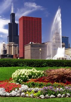 Chicago Grant Park Flowers jigsaw puzzle in Street View puzzles on TheJigsawPuzzles.com