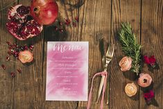 tarjeta menú boda www.bodasdecuento.com