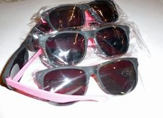 "6 Neon Sunglasses 80's Pink Glasses Party Favors Raves . $3.99. 6 pairs of Neon Sunglasses! Inexpensive Frame ! Great for Parties ,Give aways!  Teen/ Small Adult size glasses  About 5 "" across the front, Arm is 5 "" long   Pink Sides!"