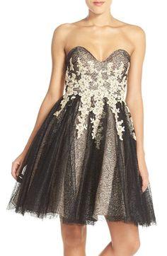 Terani Couture Appliqué Lace Fit & Flare Dress