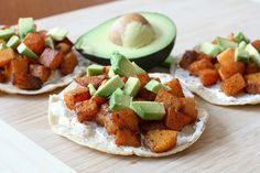 Butternut Squash Tostada with goat cheese and avocado